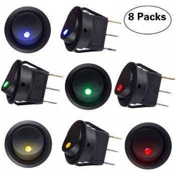 Interrupteur à bascule Bouton marche/arrêt Auto illuminé avec 4 Couleur LED (8 pièces)