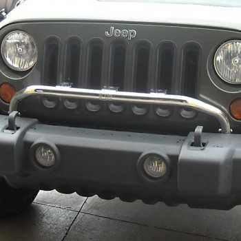 Support de phare inox sur pare chocs Jeep Wrangler JK 2007 à 2018
