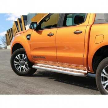 Marche pieds inox 76 mm Ford Ranger 2 & 4 Ptes 2012-2017
